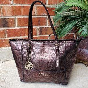 💋 Guess Crocodile Brown Gold Bag Purse Tote L